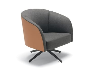 Swivel fabric armchair with armrests VIOLETTA | Fabric armchair