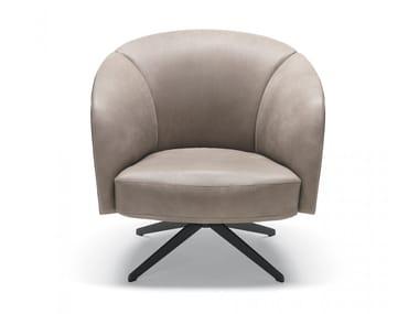 Swivel leather armchair VIOLETTA | Leather armchair