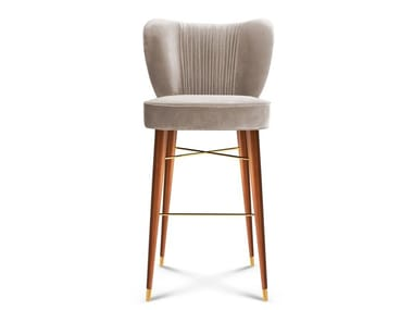 Upholstered velvet barstool with back VISCONTI   Stool with back