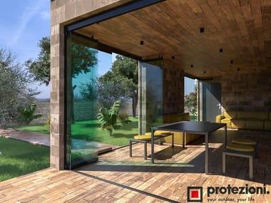 Folding frameless aluminium glass facade VISIO FOLD