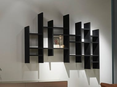 Wall-mounted lacquered floating wooden bookcase VITA | Floating bookcase