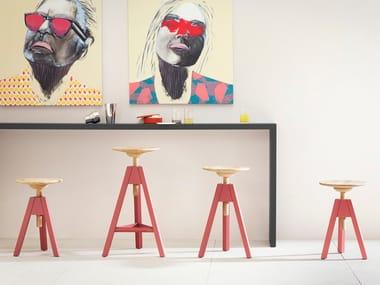 Trestle-based wooden stool VITOS