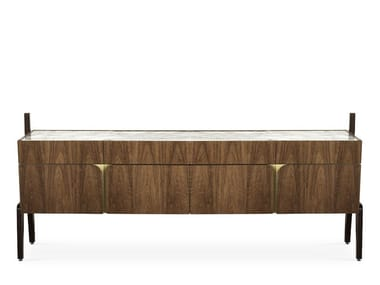 Walnut sideboard with doors with drawers VITTORIO