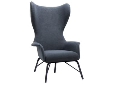 Bergere upholstered fabric armchair with metal base VIVA BE02 BASE 21