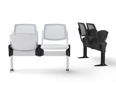 Freestanding beam seating with tip-up seats VOLÉE NET PLASTIC | Beam seating with tip-up seats