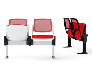 Freestanding beam seating with tip-up seats VOLÉE NET SOFT | Beam seating with tip-up seats