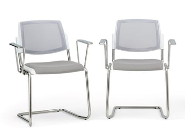 Upholstered mesh chair with armrests VOLÉE NET SOFT | Chair with armrests