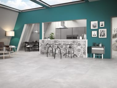 Porcelain stoneware wall/floor tiles with concrete effect VOLCANO WHITE