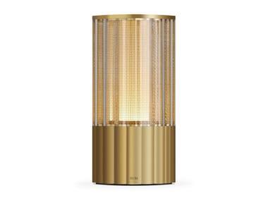 Lampada da tavolo in metallo senza fili VOLTRA REEDED NATURAL BRASS