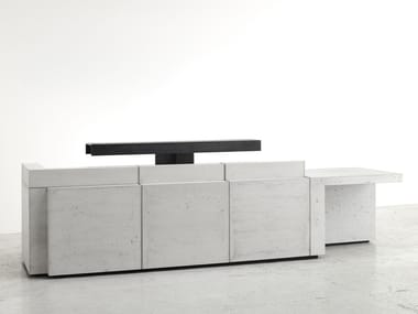 Modular lightweight concrete Office reception desk VOLUME