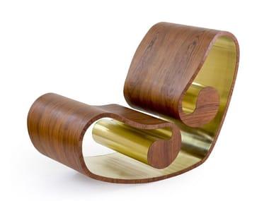 Rocking wooden armchair VOLUTA
