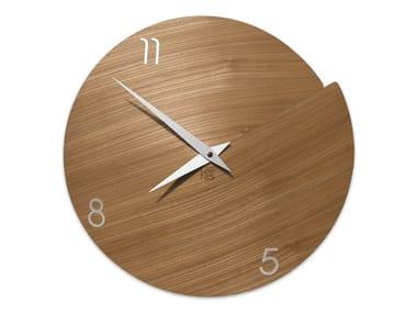 Wall-mounted wooden clock VULCANO NUMBERS ELM