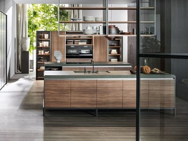 Wooden kitchen with island without handles VVD | Kitchen with island