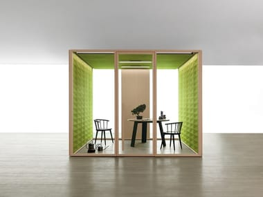 Acoustic wood and glass office booth W_SS