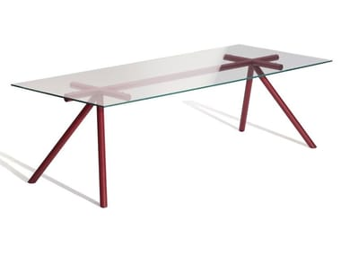 Rectangular glass and steel table W