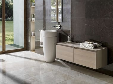 Wall-mounted wooden vanity unit with drawers W-TOWER