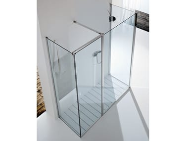 Rectangular glass shower cabin with hinged door WALL PA+F1+F4
