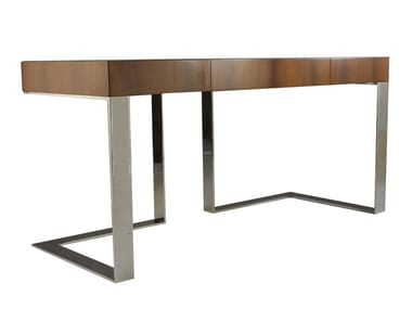 Rectangular stainless steel and wood writing desk WALLACE