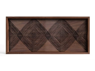 Rectangular wood and glass tray WALNUT LINEAR SQUARES - RECTANGULAR L