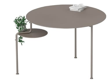 Round stainless steel and wood table WATERFALL | Table
