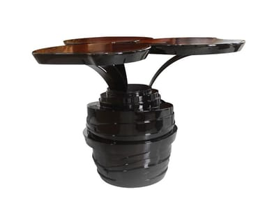 Lacquered wooden high side table WATERLILY PEDESTAL | Wooden coffee table