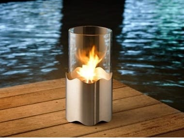 Outdoor bioethanol stainless steel fireplace WAVE