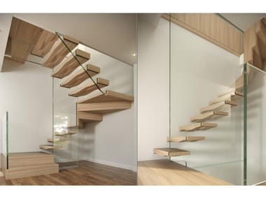 Wood and glass cantilevered staircase WAVE BLOCK