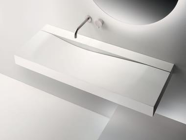 Rectangular wall-mounted Cristalplant® washbasin WAVE