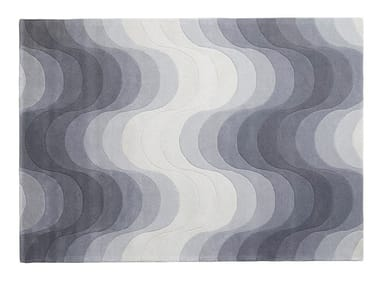 Rectangular wool rug with geometric shapes WAVE