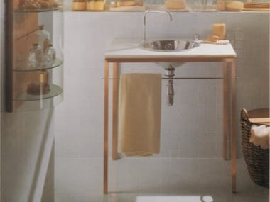 Round stainless steel washbasin with towel rail WEB
