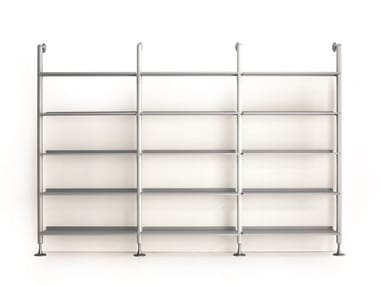 Open sectional floor-ceiling mounted bookcase WEB SYSTEM