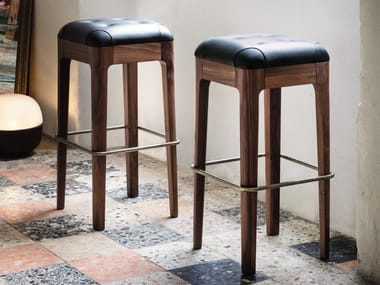 Tufted leather stool WEBBY | High stool