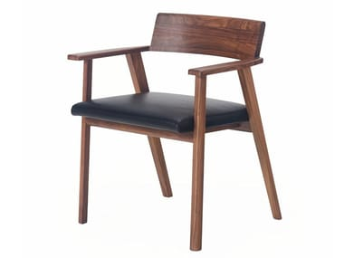 Solid wood chair with armrests WEDGE