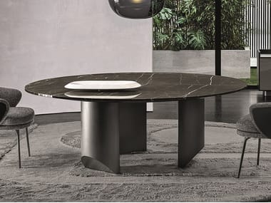 Round marble living room table WEDGE | Round table
