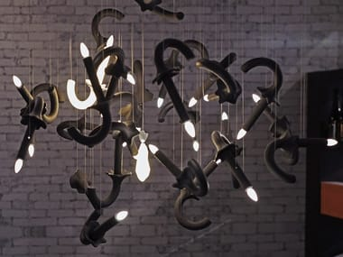 Lampada a sospensione a LED fatta a mano con dimmer WERSAILLES CARBONE