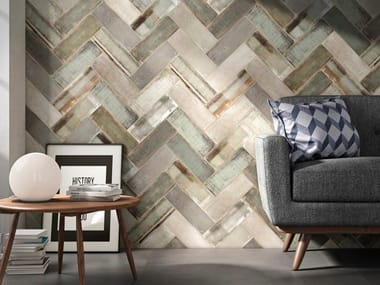 Porcelain stoneware wall tiles with wood effect WHEAT