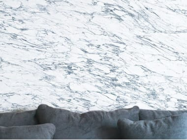 Washable panoramic wallpaper with marble effect WHITE & BLUE ARABESCATO MARBLE | Panoramic wallpaper