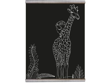 Chalkboard magnetic wallpaper WHITE PRINT GIRAFFE