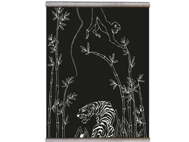 Chalkboard magnetic wallpaper WHITE PRINT MONKEY