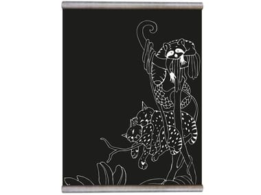 Chalkboard magnetic wallpaper WHITE PRINT RACCOON