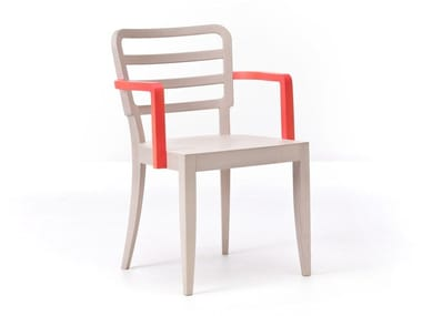 Wooden restaurant chair with armrests WIENER 12/L