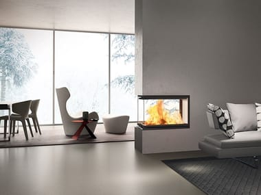 Wood-burning 3-sided fireplace WINDO3 P50