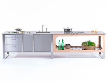 Cucina per interno ed esterno in acciaio e legno WINDOW COMBINATO C1+C3