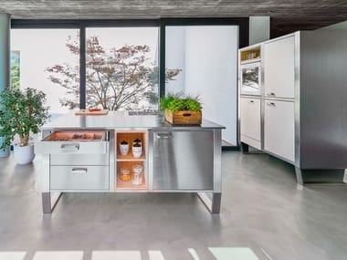 Cucina in acciaio inox e legno WINDOW C1 ISOLA