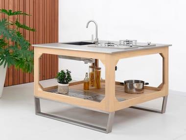 Cucina da esterno in acciaio e legno WINDOW C3 ISOLA
