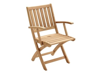 Folding teak garden chair with armrests WINDSOR | Folding chair