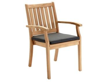 Stackable teak garden chair with armrests WINDSOR | Stackable chair