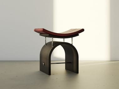 Low plywood stool with leather seat WING