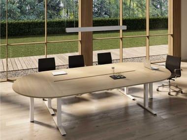 Tavolo da riunione in nobilitato con sistema passacavi WINGLET | Tavolo da riunione