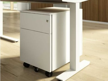 Melamine-faced chipboard office drawer unit with casters with lock WINGLET | Office drawer unit with casters